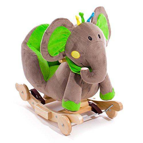 Kinderkraft Baby Schaukel Schaukeltier Schaukelpferd Plüsch Spielzeug Wippe Holz Elefant Grün