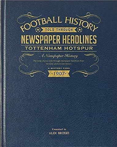 Blue Leather Bound Personalised Football Newspaper Book - Tottenham