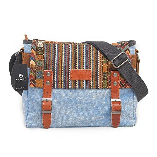 YAAGLE Neu schick Retrotasche Schultertasche national Stil Kuriertasche Freizeit Herren Reisetasche-khaki blue