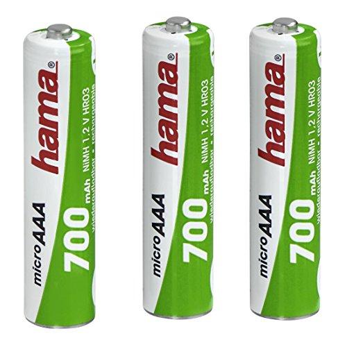 Hama AAA Akkus (3er-Pack, 700 mAh, wiederaufladbar, 3 x NiMH Batterie, 1,2 V, geeignet für Schnurlostelefone)