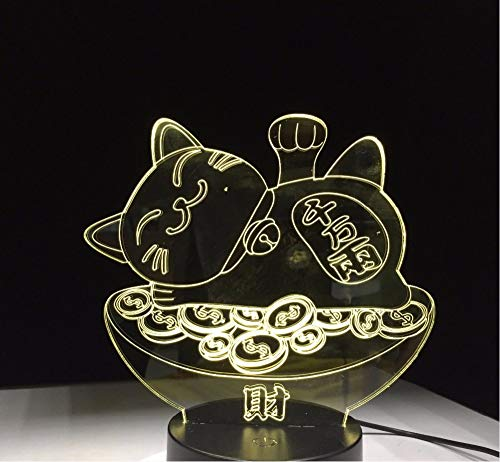Lyqyzw Glück Schatz Katze 3D Nacht Lava Lampe 7 Farbwechsel Led Licht Stimmung Schlafzimmer Tisch Dekor Geschenk Touch Schalter