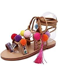 2ceb7c8b85c ZPFME Las Señoras De Las Mujeres Atan Las Sandalias Planas Del Gladiador  Color Pompon Strappy Summer