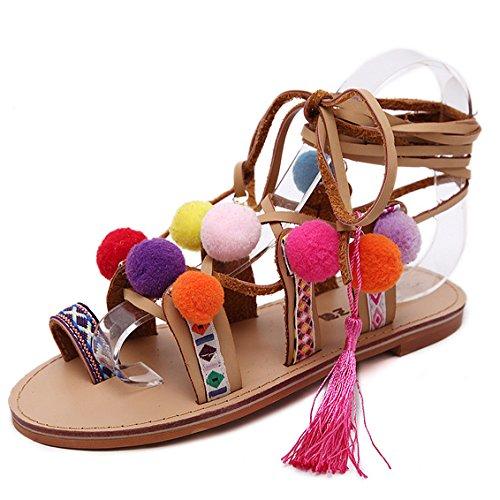 ZPFME Womens Damen Binden Gladiator Flachen Sandalen Farbigen Pompon Riemchen Sommer Schuhe Größe,Brown-EU37/235