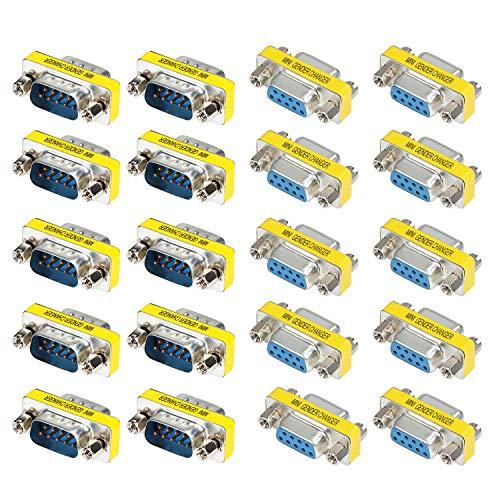 Vga-mann-zu-frau-kabel (KEESIN DB9 Seriell Geschlecht Wechsler,9 Poliger RS-232 Kabel Koppler Adapter, 20 Pack (Frau+Mann))