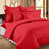 #6: 300 TC Duvet Cover - Double Size - Premium Cotton - Striped Duvet / Quilt / Comforter cover with zipper by Ahmedabad Cotton - 90 x 100 inches - Tomato Red