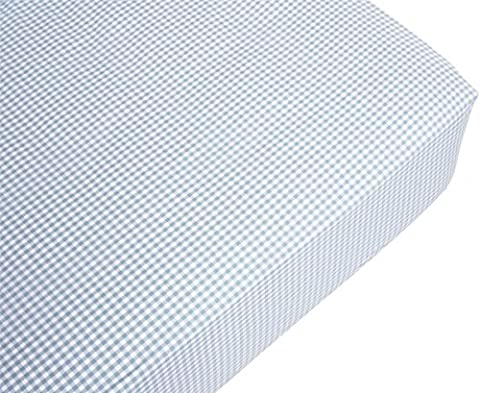 Contemporary Fitted Sheet Double Blue Cotton Gingham Check Machine Washable New