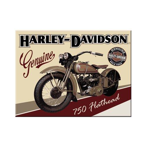 Harley-Davidson - Flathead, Magnet 8x6 cm (Mädchen Auf Der Harley)