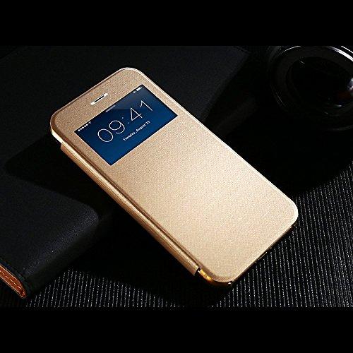 Apple iPhone 5C Flip Case Cover Klapp Handyhülle - Rückseite Durchsichtig - Mit Fenster - Gold (Iphone 5c Flip Cover Mit Fenster)