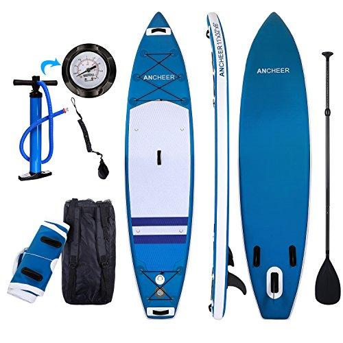 YUEBO 335cm Aufblasbares Sup Stand-up Paddel Board 15 dick, iSUP Board mit Doppelhub-Pumpe + verstellbares Paddel + großer Rucksack + Knöchelband