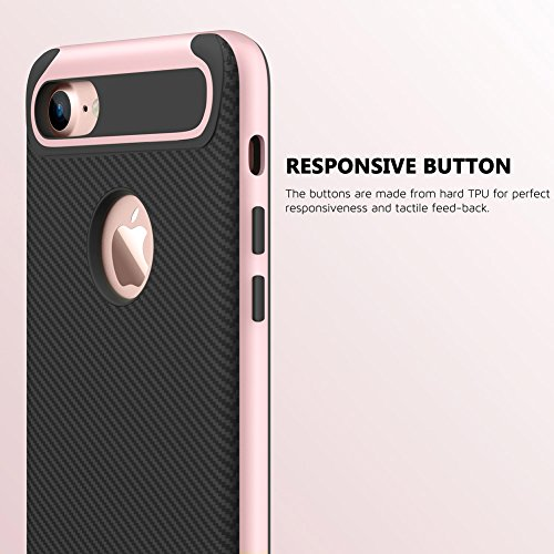 Coque iPhone 7, [Premium Armor] TPU Pare Carbone Fibre Coated Dual Layer Protective Housse Etui Pour iPhone 7 [Rose Gold] Rose Gold/For iPhone 7