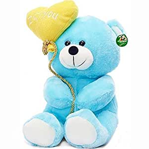Tickles I Love You Balloon Heart Teddy Blue, 18 cm (Balloon / TOY color may vary)