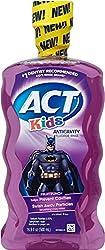 ACT Anti-Cavity Kids Super Hero Mouthwash, Fruit Punch 16.9 oz (Pack of 3)