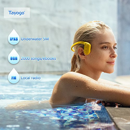Tayogo Lettore MP3 Cuffie a Conduzione Ossea IPX8 Subacqueo Nuoto 5m FM 8GB Perfetto per Nuoto Corsa Ciclismo Immersione Passeggiata Terme ECC (Giallo)