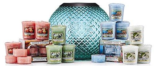 Offizielles Yankee Candle Blaugrün MONTEROSSO Laterne Votivkerzenhalter Geschenk-Set inkl. Teelichter und Votivkerzen