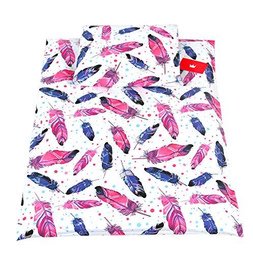 BABYLUX 2 tlg. Set Bezug für Kinderwagen Stubenwagen oder Wiege Garnitur Bettwäsche Kissen Decke 60 x 78 cm (99. Feder)