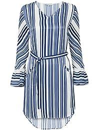 e695c38748bc0 Promiss Damen Kleid Streifen Tanuya Tunika Blau Und Weiß Tailliert  V-Ausschnitt