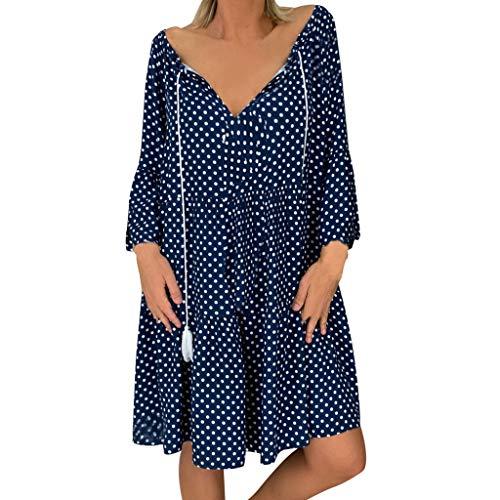 Große Größen Damen Strandkleid Tunika V-Ausschnitt Polka Dots Einfach Lose T-Shirt Floral Minikleid Retro Muster Freizeit Langärmliges Party-Kleid