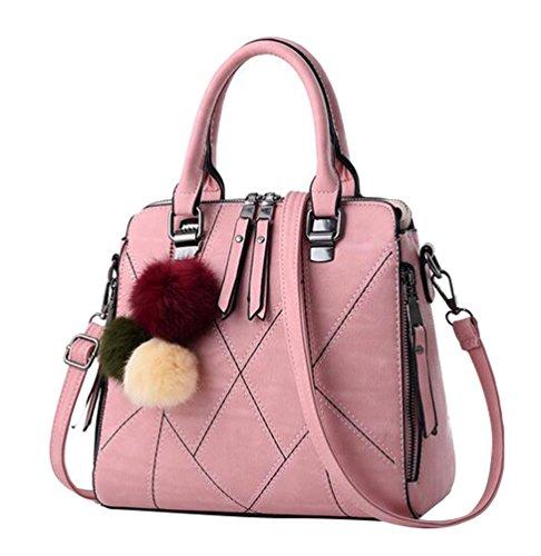 Baymate Frauen PU Leder Tasche Umhängetasche Gedruckt Messenger Bag Elegant Handtasche Pink