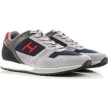 Hogan Sneakers Uomo H321 in Pelle e Camoscio MOD. HXM3210Y861I7G786Z Grigio Blu Rosso