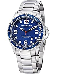 Stuhrling Original Blue Dial Specialty Professional Divers Watches for Men Collection Swiss Quartz 200 Meter Water Resistant Stainless Steel Bracelet Screw Down Crown Designers Sport Dress Watch