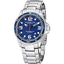 Stuhrling Blue cara relojes de buceo para hombres Cuarzo suizo 200 metros Resistente al agua sólido pulsera de acero inoxidable tornillo abajo corona diseñadores elegante vestido deportivo reloj