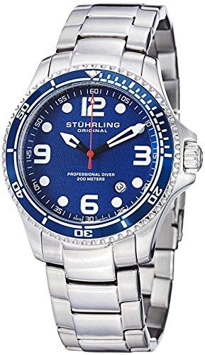 Stuhrling Original Blue Face Professional la plongée Montres pour homme Swiss Quartz résistant 200 mètres Bracelet en acier inoxydable à l'eau Screw Down Crown Designers Elegant Chic Sport Watch