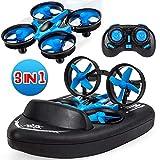 Yard Mini-Drohne für Kinder / Ferngesteuerte Boote für Pools und Seen / RC-Car 3 in 1 Seelandluftmodus umschaltbar wasserdichtes Luftkissenfahrzeug-Spielzeug RC Quadcopter