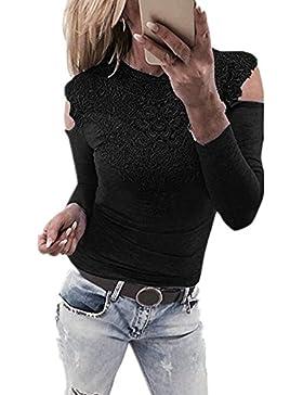 Minetom Donna Sexy Rotondo Collo Maglietta Camicia Manica Lunga Pizzo Maglia Camicetta Primavera Casuale T-shirt...