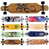 FunTomia Longboard Skateboard Drop Through Cruiser Komplettboard mit Mach1 High Speed Kugellager T-Tool mit und ohne LED Rollen Flex 2