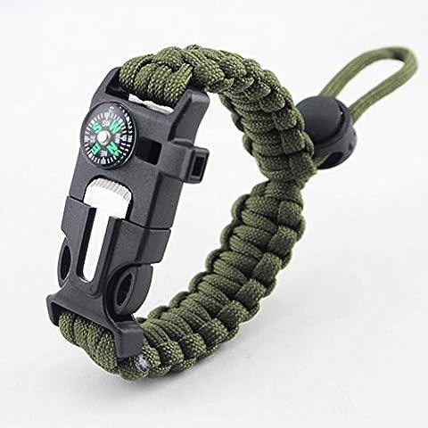 Yancorp 5-in-1-Überlebens-Armband, 2,5Meter Fallschirmleine, Kompass, Feuerstarter, Schaber, Pfeife,für Wandern/Camping/Notfall , Navy Green