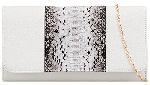 UKFS signore Designer Faux Box Snake rigido Stampa frizione di sera della borsa Bianca