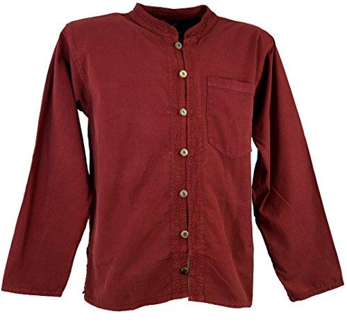 Guru-Shop Hemd Yogahemd, Hippie, Goa Hemd, Herren, Baumwolle, Männerhemden Alternative Bekleidung Bordeaux