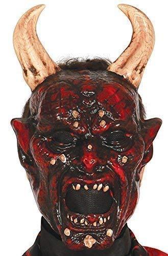 Fancy Me Herren Demon Teufel Satan Horror Halloween Maske mit Hörner Kostüm Kleid Outfit Zubehör (Teufel Kostüm Maske)
