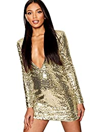 d12de81a54a746 BESSKY Women Deep V Sequins Wrap Ruched Long Sleeve Nightclub Mini Dress  Langärmliges, tiefes V