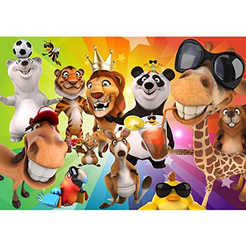 Vlies Fototapete 350x245 cm PREMIUM PLUS Wand Foto Tapete Wand Bild Vliestapete - SAFARI PARTY ANIMALS - Kinderzimmer Kindertapete Zoo Tiere Safari Comic Party Dschungel - no. 088