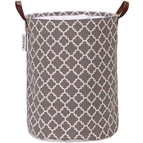 Faltbarer 19,7 * 15,7-Inch-Aufbewahrungskorb mit PU-Ledergriff, Kordelzug-Design und wasserdichtes Futter aus marokkanischem Plaid, mit Kleeblattmuster und der Material vom Segeltuch (grau) -