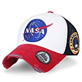 ililily NASA Meatball Logo Embroidery Baseball Cap Apollo 1 Patch Trucker Hat , Red & White