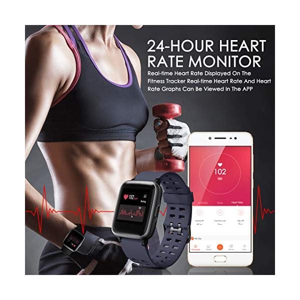 LATEC Pulsera Actividad Reloj Inteligente Impermeable IP68 Smartwatch Pantalla Táctil Completa con Pulsómetro Cronómetro Pulsera Deporte para Hombres Mujeres Niños con iOS y Android 4