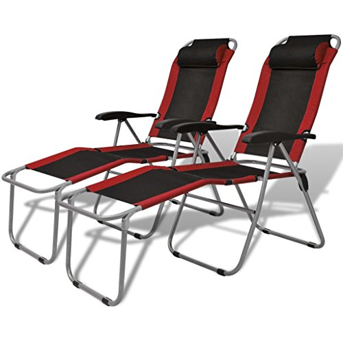 vidaXL Chaise inclinable de Camping pêche 2 pcs Rouge et Noir Chaise Longue de Jardin