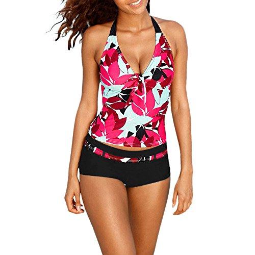 ZOTTOM Damen-Frauen Tankini Floral Print Bademode Zweiteiliger Badeanzug Asymmetrisch Swimdress (Swimdress Bügel)