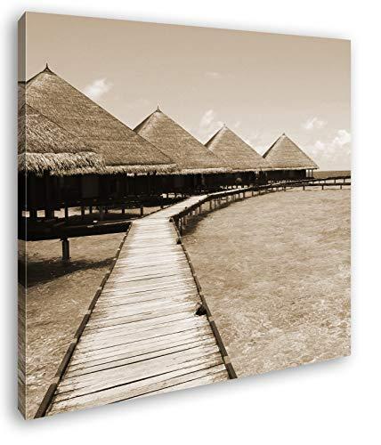 deyoli Paradis am Meer im Format: 60x60 Effekt: Sepia als Leinwandbild, Motiv auf Echtholzrahmen, Hochwertiger Digitaldruck mit Rahmen, Kein Poster oder Plakat
