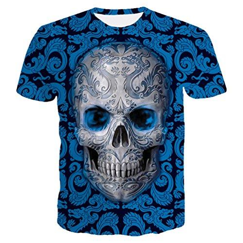 ZKOOO Hombre Suelto T-Shirts 3D Calaveras Impresión Camisetas Manga Corta Vintage tee Shirt O-Cuello Casual Tops