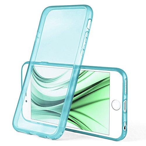 iPhone 7/8 Plus Hülle Silikon Transparent [OneFlow Frosted Back-Cover] Stoßfeste Schutzhülle Rosé Handy-Hülle für iPhone 7/8 + Plus Case Dünn Silikonhülle Tasche AQUA-CYAN
