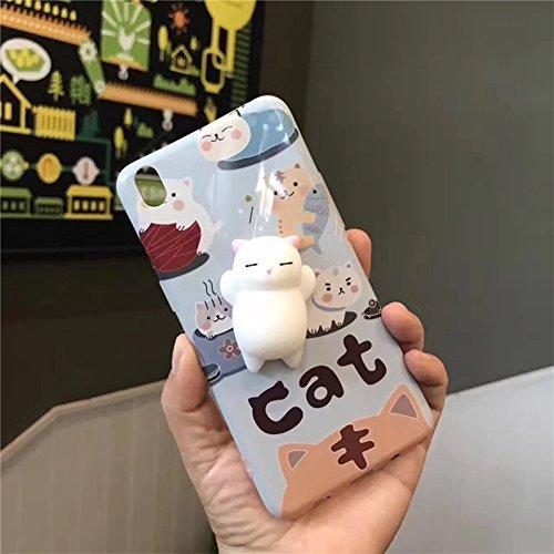 Coque iPhone7,Aliyao iPhone case Étui en plastique squishy 3D Squishy avec Soft Silicon Cute Animal Squeeze Stress Reliever Phone Cover pour iPhone 6/6S Plus,iPhone7/7Plus (iPhone7, chat 5) chat1