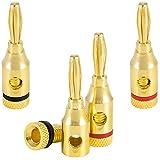 Poppstar 4x High End Bananenstecker (2-teilig), Bananas für Lautsprecherkabel (bis 4 mm²), Lautsprecher, AV Receiver, 24k vergoldet (2x schwarz, 2x rot)