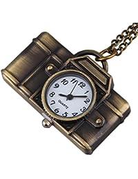 Bold N Elegant Vintage Bronze Camera Watch Pendant Pocket Watch Clock Camera Locket Necklace Chain Jewelry