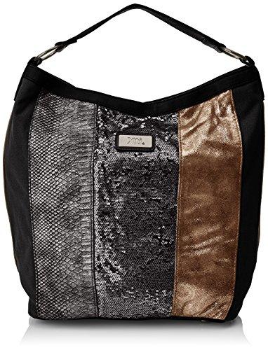XTI 85871, Bolso Mujer, Multicolor (Metalizado Negro), 40x33x19 cm