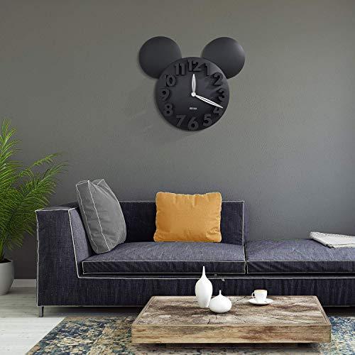 51CDBlLrFRL - Sanch Ancha Mickey Mouse - Reloj de Pared con Pilas, para decoración del hogar, para habitación de niños, 3D, 3D, 3D, 31,75 cm, Color Negro