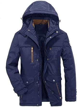 Giacca da Uomo Autunno e Inverno Casual Cappotto Caldo con Cappuccio più Giacca di Cotone Velluto Taglia M-6XL