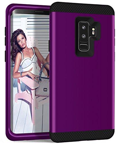 Galaxy S9Plus Case, zaox Drei Schichten Heavy Duty stoßfest Soft Silikon Kratzfest Anti-Fingerprint PC Harte Hybride Schutzhülle für Samsung Galaxy S9Plus, Deep Purple+Black (Mädchen Diamond Supply Co)